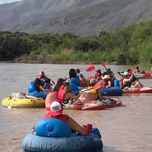 People tubing down the Rio Grande
