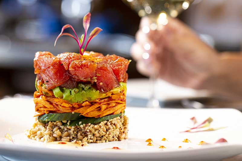 Ahi tuna tower at the Amador.