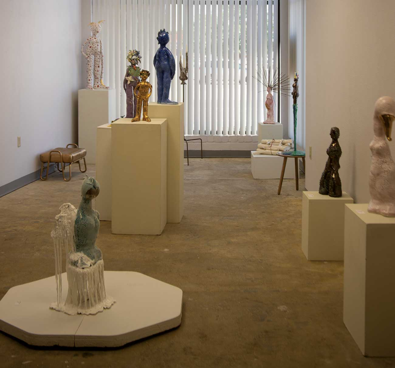 Art gallery filled with sculptures