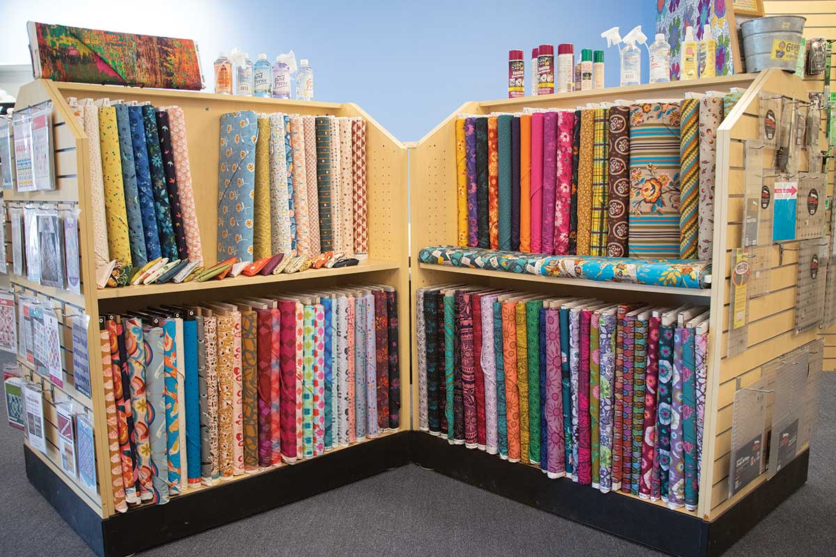Racks of fabric at ThreadBear